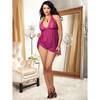 Dreamgirl Plus Size Raspberry Stretch Lace and Mesh Halter Babydoll Set