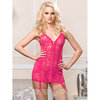 iCollection Open Back Pink Satin and Lace Chemise Set