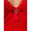 Lovehoney Plus Size Flaunt Me Lace Floral Lace Balcony Cup Basque Red