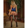 Exposed Precious Gems Sapphire Basque and G-String Set