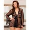 iCollection Plus Size Sheer Long Sleeve Robe