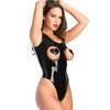 Latex Leotard Body with Open Cups and Soft Lining