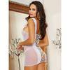 Dreamgirl Lace Back Polka Dot Fishnet Chemise