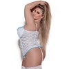 Exposed Luv Plus Size White Floral Lace Bustier and G-String Set