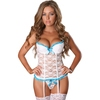 Exposed Luv White Floral Lace Bustier and G-String Set
