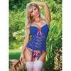 Ensemble bustier & string ficelle en dentelle florale bleu dur Luv, Exposed