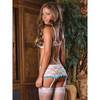 Exposed Luv 1/2 Cup White Floral Lace Bra & Suspender Set White