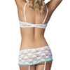 Exposed Luv 1/2 Cup White Floral Lace Bra and Garter Set
