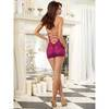Dreamgirl Raspberry Sheer Lace and Mesh Chemise Set