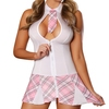 Exposed White Zip Front Sexy Schoolgirl Costume
