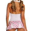 Exposed Zip Front Pink and White Tartan Dress