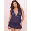 Seven 'til Midnight Plus Size Lace and Mesh Halter Babydoll Set