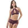 Lovehoney Indulge Me Purple Lace Halterneck Bra