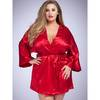 Lovehoney Plus Size Short Satin Robe Red