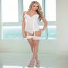 Escante White Mesh and Lace Underwire Basque and Stockings Set