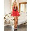 Dreamgirl Deep Plunge Lipstick Red Lace and Mesh Babydoll Set