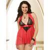 Dreamgirl Plus Size Deep Plunge Lipstick Red Lace and Mesh Babydoll Set