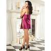 Dreamgirl Plus Size Tie Side Raspberry Charmeuse Chemise