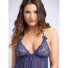 Lovehoney Love Me Lace Midnight Blue Babydoll and G-String