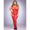 Lovehoney Plus Size Red Lace and Fishnet Garter Bodystocking