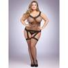 Lovehoney Plus Size Fishnet and Lace Garter Bodystocking
