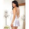 Dreamgirl Plus Size White Satin and Lace Plunge Chemise