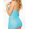 Music Legs Lace Turquoise Chemise with Plunge Neck