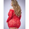 Lovehoney Plus Size Red Off the Shoulder Lace Mini Dress