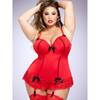 Lovehoney Plus Size Seduce Me Red Push-Up Basque Set