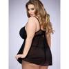 Lovehoney Plus Size Barely There Black Push Up Babydoll Set