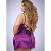 Lovehoney Plus Size Plum Lace-Up Satin Chemise