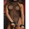 Dreamgirl Fishnet Thong-Back Teddy and Wrist Cuffs