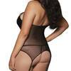Dreamgirl Plus Size Wet Look Zip Front Bustier with Buckle Choker