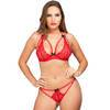 Lovehoney Red Underwired Lace Triangle Bra and G-String Set