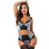 Lovehoney Treasure Me Front-Fastening Grey Longline Underwired Bra Set