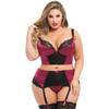 Lovehoney Plus Size Treasure Me Wine Longline Underwired Bra Set
