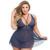 Lovehoney Plus Size Late Night Liaison Blue Lace Babydoll Set