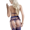 G World Embroidered Bra Set with Garter Belt and Stockings