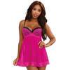 Dreamgirl Underwired Hot Pink Lace Babydoll
