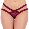 Lovehoney Wine Lace Cage-Back Crotchless Panties