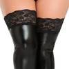Lovehoney Plus Size Black Wet Look Thigh Highs with Lace Tops