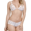 Exposed White Lace Peek-A-Boo Bra and Shorts Set