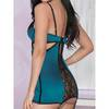 iCollection Blue Satin and Lace Chemise Set