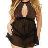 Seven 'til Midnight Plus Size Black Keyhole Front Babydoll Set