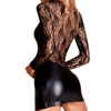 7heaven Plus Size Long Sleeve Wet Look and Lace Mini Dress