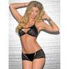 Escante Black Wet Look and Lace Halterneck Bralette