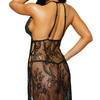 Dreamgirl Black Long Lace Gown and G-String Set