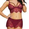 Dreamgirl Red Bralette and Lace Skirt Thong Set
