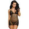 Dreamgirl Black Fishnet and Lace Chemise Set