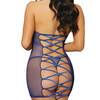 Dreamgirl Blue Lace Strappy-Back Chemise Set